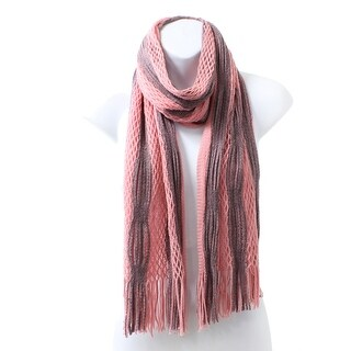 Winter Two Tone Tubular Knit Scarf with Fringe