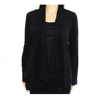 Live a Little NEW Black Womens Small S Faux-Suede Drape-Front Jacket