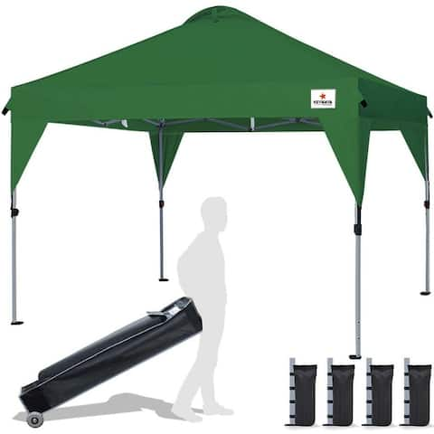 10x10 Portable Folding Tent with Vent Cover Wedding Party Tent Bonus Wheeled Canopy Bag and 4 Sandbags