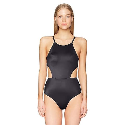 RVCA Junior's Solid One Piece Swimsuit, Black, Sz M