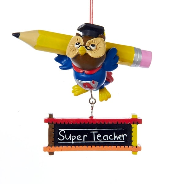 "2.75"" A Plus Fully Dimensional Owl ""Super Teacher"" Christmas Ornament Red Rope"