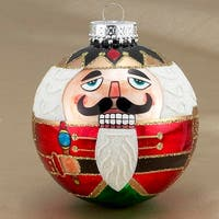 "Pack of 6 Nutcracker Glitter Glass Ball Christmas Ornaments 3.25"" (80mm) - RED"