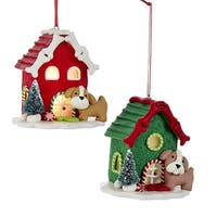 """Club Pack of 12 Vibrantly Colored Dog House Decorative Ornaments 3.5"""" - green"""
