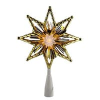 "8"" Retro Gold Tinsel 8-Point Star Christmas Tree Topper - Clear Lights"