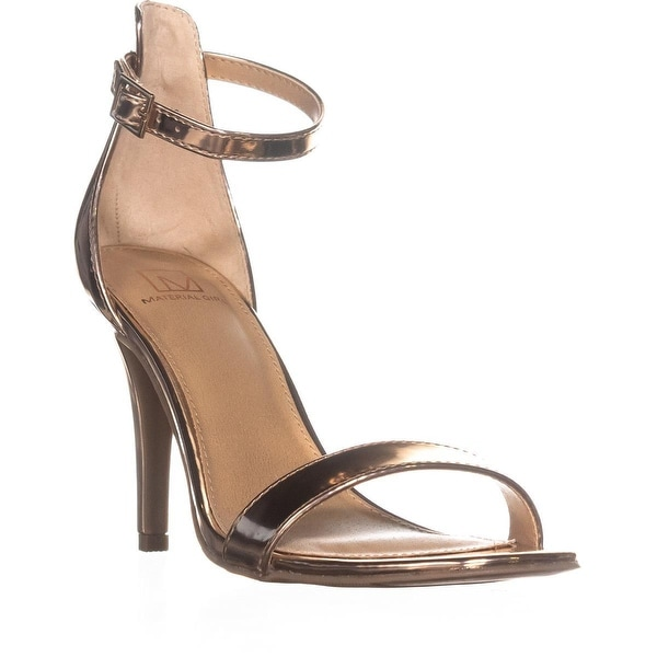 MG35 Blaire6 Slim Heel Ankle Strap Sandals, Rose Gold Metallic