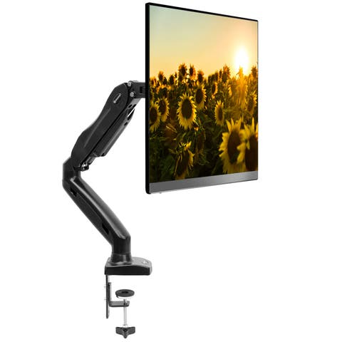 """Full Motion LCD Monitor Arm Gas Spring Desk Mount for Screens up to 27"""" - Black"""