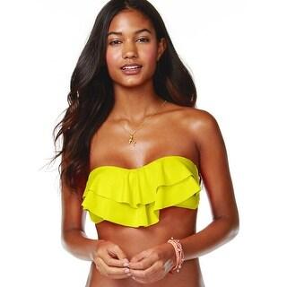 Hula Honey Junior Tiered Ruffle Bikini Top Lemonade Yellow Medium M