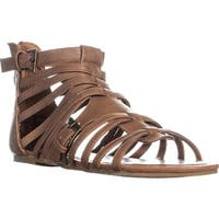 madden girl Maximuss Gladiator Flat Sandals, Cognac - 6 us