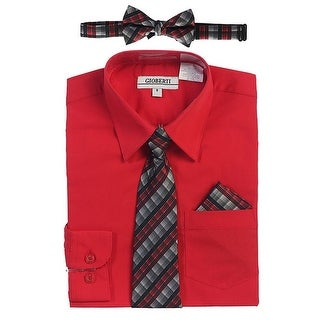 Gioberti Little Boys Red Tie Bow Tie Handkerchief Dress Shirt 4 Pc Set