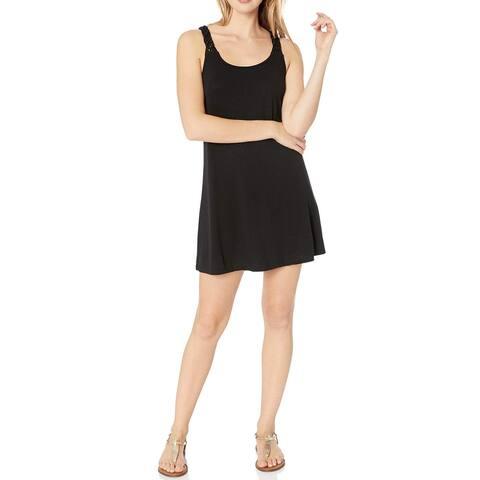 J. VALDI Womens Swimwear Black Size Medium M Macrame Back Cover-Up Dress