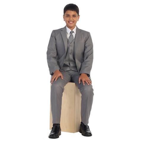 Boys Light Linen Gray Vest Pants Jacket Necktie Shirt 5 Pcs Suit Set 8-18