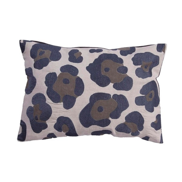 "20"" Dusty Blue Smoke Gray and Pale Blue Gray Leopard Animal Print Decorative Throw Pillow"
