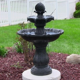 Sunnydaze Two Tier Solar-on-Demand Fountain, 35 Inch Tall