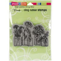"Stampendous Cling Stamp 6.5""X4.5""-Flower Jars"