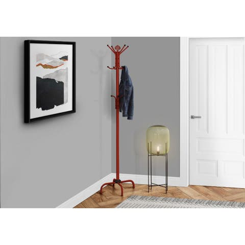 "Offex Red Metal 74""H Coat Rack"