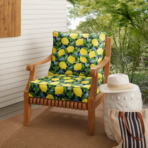 Yellow Lemons Indoor/ Outdoor Deep Seating Pillow and Cushion Set
