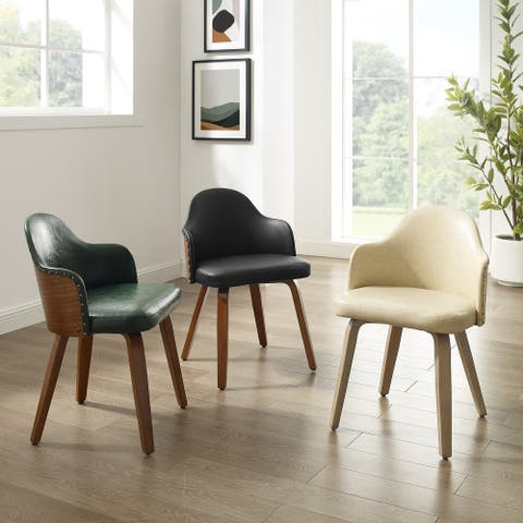 Corvus Metz Mid-Century Bonded Leather Bamboo Accent Chairs (Set of 2)
