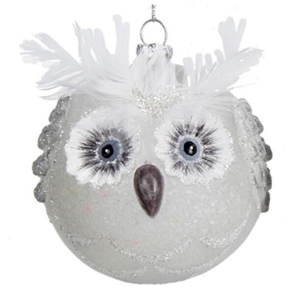 """4"""" Winter Light White Owl Head Glittered Glass Christmas Ball Ornament"""