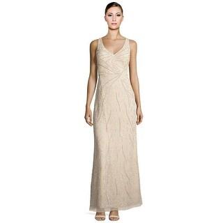 Aidan Mattox Beaded Illusion Low Back Sleeveless Evening Gown Dress Champagne