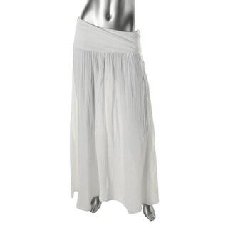 Three Dots Womens Cotton Side Slit Maxi Skirt