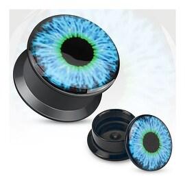 Blue Eyeball Print Black Acrylic Flat Screw Fit Plug (Sold Individually) (Option: 6 Gauge)