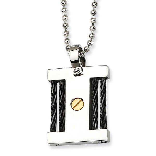 Chisel Stainless Steel IPG 24k & IP Black Plating Square Pendant Necklace (1 mm) - 22 in