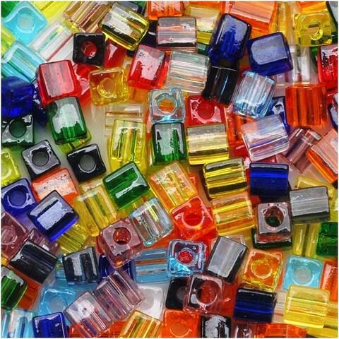 Miyuki 4mm Glass Cube Bead Mix 'Transparent Rainbow' 10 Grams