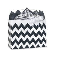 """Pack Of 25, Vogue 16 X 6 X 12.5"""" Chevron Stripe Black Recycled White Shopping Bags W/White Paper Twist Handles Made In Usa"""