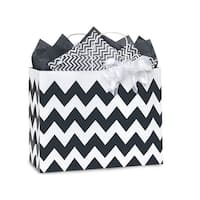 """Pack Of 250, Vogue 16 X 6 X 12.5"""" Chevron Stripe Black Recycled White Shopping Bags W/White Paper Twist Handles Made In Usa"""