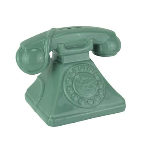 Money Talks Vintage Rotary Phone Ceramic Coin Bank - 4.75 X 6.5 X 4.25 inches