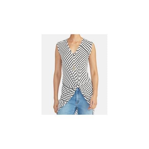 RACHEL ROY Womens Black Striped Sleeveless V Neck Top Size XL