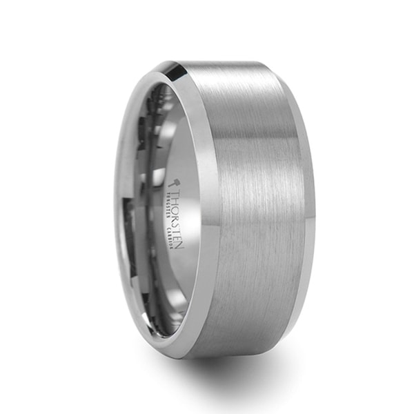 THORSTEN - SHEFFIELD Simple Matte Brushed Finished Center Tungsten Carbide Wedding Ring with Polished Beveled Edges Comf