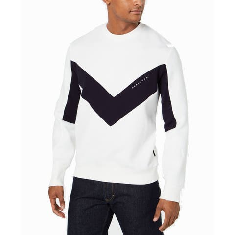 Sean John Mens Sweater White Navy Blue Size 3XL V-Neck Cable Knit