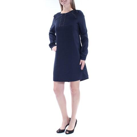 JESSICA SIMPSON Womens Navy Embellished Lace Long Sleeve Jewel Neck Mini Shift Dress Size: 10