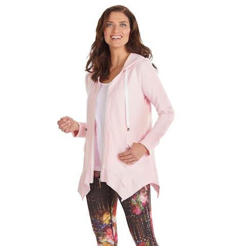 Women's French Terry Zip-Up Hoodie - Tunic Style Sharkbite Hem Hooded Sweatshirt