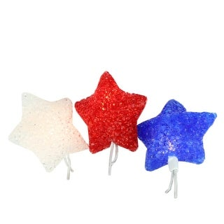 Set of 10 Red, White & Blue 4th of July Patriotic Star Lights - White Wire
