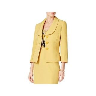 Kasper Womens Three-Button Blazer 3/4 Sleeves Shawl Collar