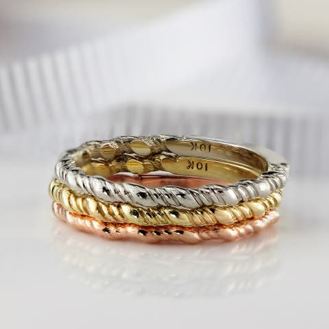 Auriya 10K Gold Ultra-Thin Twisted Rope Stackable Wedding Band