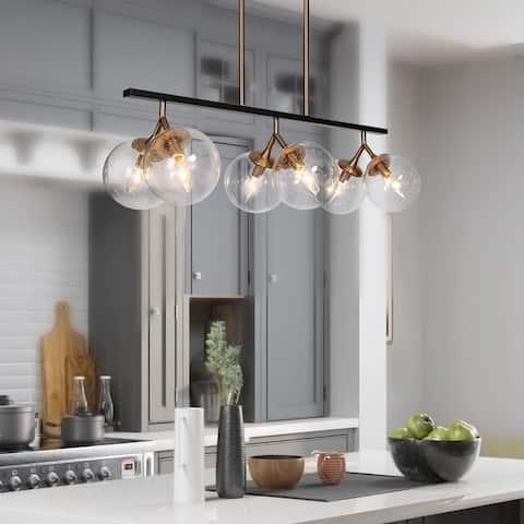 "Modern Glam 6-light Orb Seeded Glass Chandelier Kitchen Islands Lights - L28.5"" x W12'' x H72.5''"