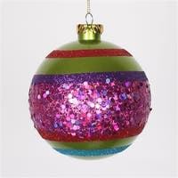 Lime Green And Cerise Pink Shatterproof Christmas Ball Ornament -
