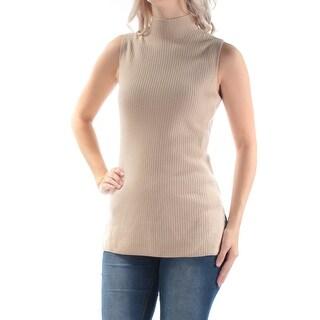Womens Beige Sleeveless Turtle Neck Top Size L