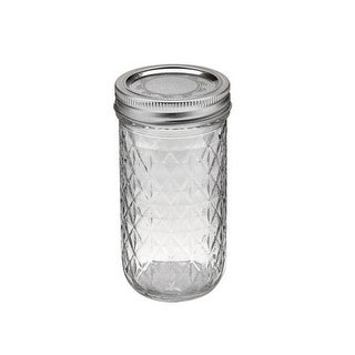 Ball 1440081400 Jelly Jars,12 Oz, Regular Mouth, Quilted Crystal Design