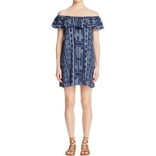 Aqua Womens Casual Dress Ruffle Printed - m