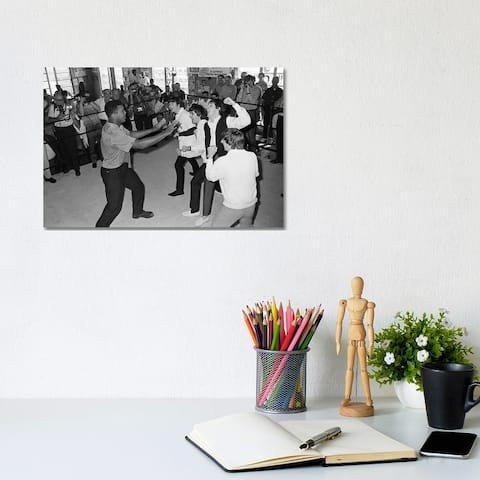 """iCanvas """"The Beatles in Ring with Muhammad Ali"""" by Muhammad Ali Enterprises Canvas Print"""