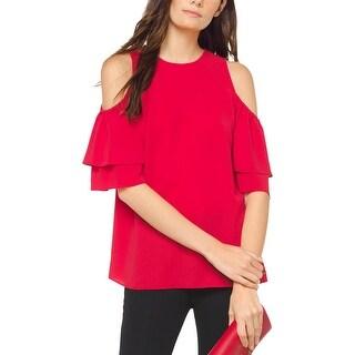 MICHAEL Michael Kors Womens Petites Blouse Cold Shoulder Ruffled - P