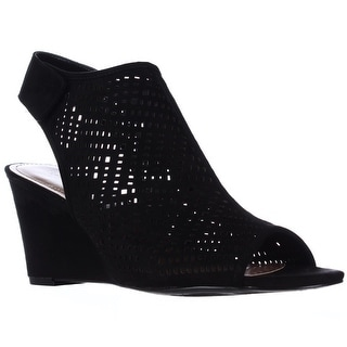 SC35 Heather Perforated Wedge Caged Sandals, Black