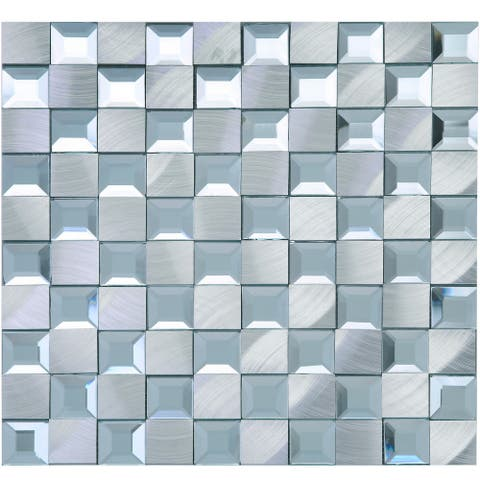 """TileGen. Crystal 1"""" x 1"""" Mirror Aluminum Mix Mosaic Tile in White/Silver Wall Tile (14 sheets/13.72sqft.)"""