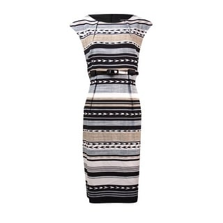 Connected Women's Petite Tribal Belted Dress