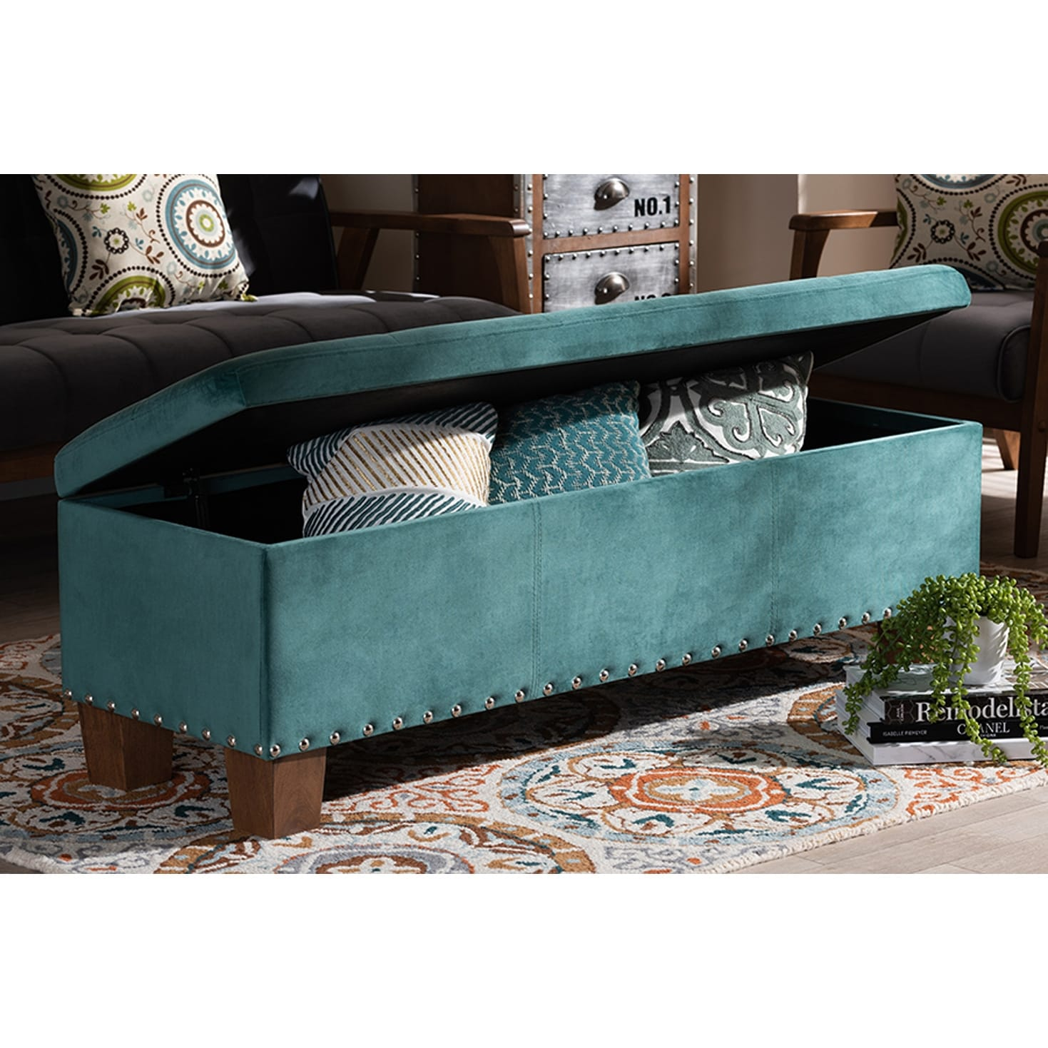 Adrian Teal Blue Velvet Fabric Button Tufted Storage Ottoman Bench Overstock 29897762