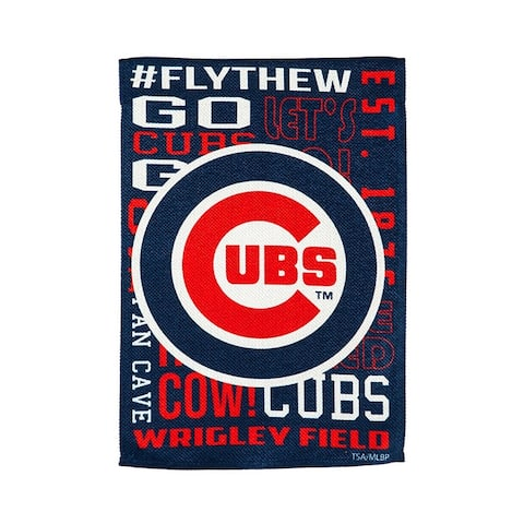"""Chicago Cubs Fan Rules 13"""" x 18"""" Decorative Team Flag"""